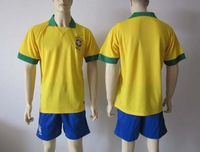 wholesales 13/14 soccer jerseys BRAZIL home soccer uniform shirts + shorts top quality + free shipping customized