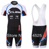 2013 New! CUBE Short Sleeve Cycling Jersey+ Bib Shorts .free shipping !