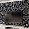 Vintage Black Non Woven Flocking Modern Romantic Wallpaper Wall paper Roll Feature Design WP007 Free shipping