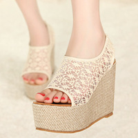 Free shipping Vintage 2013 lace net fabric lena princess gentlewomen platform wedges sandals open toe platform shoes