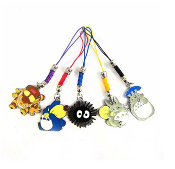 Metal Keychain Action Figure Anime Totoro Model Doll Toys 10pcs/lot Mobile phone chain Dolls bag lanyards 5pendants 2style