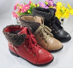 Female child boots 2012 winter genuine leather musicality female child boots child leather cotton-padded shoes(China (Mainland))