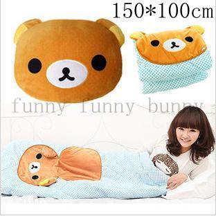 1pcs free shipping 150*100cm japanese cute brown relax bear stuffed doll san-x rilakkuma head plush toy quilt animal shape(China (Mainland))