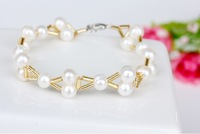 Free Shipping Korean Style Hand-woven Natural Freshwater Pearls Bracelets For Women