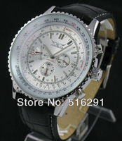 Free Shipping, New 2014 Luxury 6hands Multifunction Automatic Men's Wrist Watch, Leather strap,day/date/24 hours