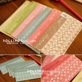 2013 Hot Selling 5pcs Inside Good Quality Korean Stationery Cheap Cute Colored Paper Envelops/Decorative Padded Envelops