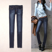 2012 wearing white slim skinny pencil pants jeans paragraph of the four seasons all-match dark color jeans