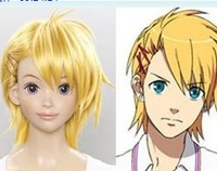 hot selling Showu yellow high temperature wire stubbiness cos style paragraph wig repair Cosplay Party Wig