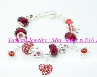 Charm Chamilia bracelet -TTPB47 free ship 925 silver red beads bracelets 925 sterling silver crystal charm bracelet for woman