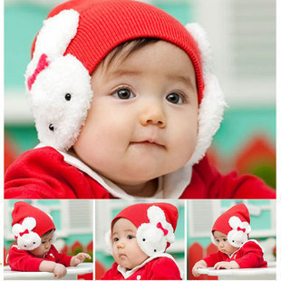 New& Free shipping Korean Baby Bonnet knitted cap rabbit ear cap, Baby Christmas hats wholesale A08(China (Mainland))