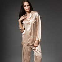 Fashion summer mulberry silk sleep set women's long-sleeve silk sleepwear twinset lounge