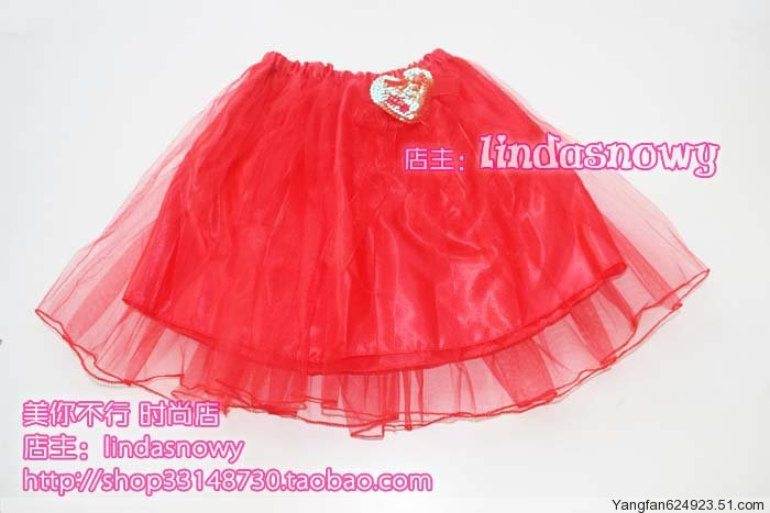 Props dance clothes flower girl props child princess puff skirt dress gauze skirt red