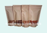 Factory directly sale brown kraft paper standup window pouch doypack packaging bags 12x19.5cm