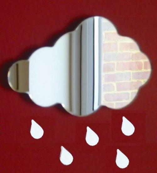 Cloud Mirrors & Raindrops/home decoration/28cm x 22cm Cloud & 5 raindrops