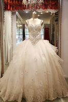2013 new collection free shipping  bandage tube top princess big train wedding dress crystal custom made wholesale
