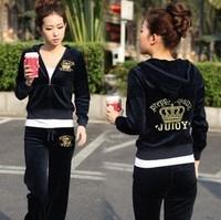 5848 women's 2012 autumn velvet pattern slim casual sports set