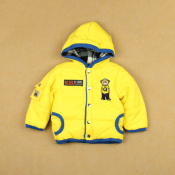 Winter male female child cotton-padded long-sleeve plus velvet hooded outerwear baby thickening thermal cotton-padded jacket