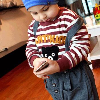 2013 spring male female child three-dimensional plush bear t-shirt baby cotton 100% horizontal stripe long-sleeve basic shirt