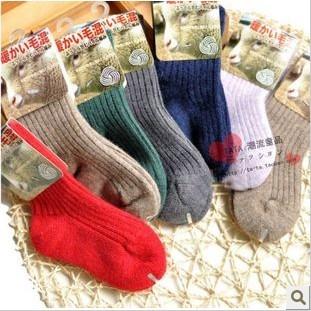 Winter thickening knee-high solid color wool socks wool blending small kid's socks infant boy baby thermal socks