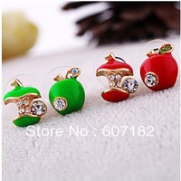 Min.order $10 (Mix order) Lovely cute fashion earrings red drop glaze asymmetric apple stud earrings