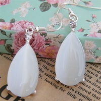 2013 new fashion women water drop jade stone earrings for bride wedding jewelry accessory wholesale Free shipping(10pairs/lot)