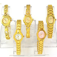 Wholesale 5pcs Luxury Golden Ladies Grils Womens Stainless Steel Strap Dress Quartz Wrist Watches, Free & Drop Shipping