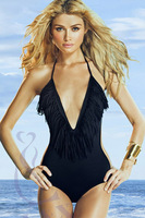 Sexy tassel V-neck black/white one piece swimwear for women, free shipping, hot sell bathing suits swimsuits