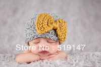 Free shipping Yellow bow baby hat handmade crochet photography props newborn baby cap