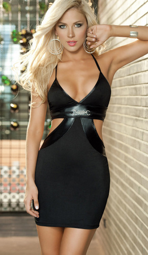 Strappy Black Corset Bustier Cut-Out Halter Top Bra Short Dress Sexy Lingerie Yazilind(China (Mainland))