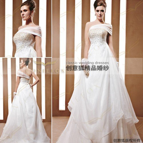 Coniefox Custom Made 2011 The Lastest Fashion Modern Amazing Long One Shoulder White Satin Wedding Dress Bridal Gown NO.90032(China (Mainland))