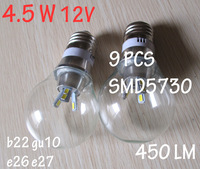 led globe bulb 4.5W 12v E26 27 B22 Gu10 warm white or natural white Led bubble ball bulb lamp SMD5730 free shipping by CPAM