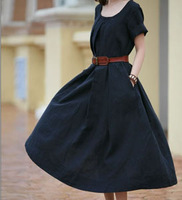 High Quality Fashion Casual Long Plus Size Cotton Linen Dress Summer Dresses For Women 2013