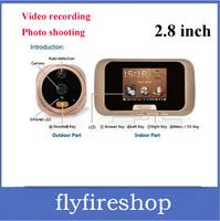"New Ultra Slim 2.8"" LCD Video Door Viewer Peephole Doorbell IR Camera DVR, PIR Home Security FREE SHIPPING"