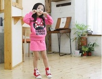 Mickey & Minnie long sleeve two-piece,Free shipping (5 pieces/lot) 100% cotton girls' spring or autumn season  clothing suit.