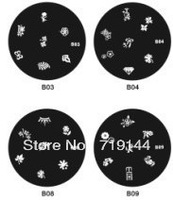 Round Stainless Steel Image Plate Nail Art Stamping Plate Template 12pcs/lot