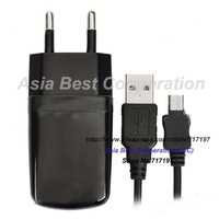Stylish EU Plug Adapter + USB Cable for HTC One X / One S / One V - Black (73cm)