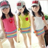 Free shipping 2013 new baby girl dress children kids sleeveless rainbow fluorescence stripe dresses spring summer clothing