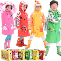 New 2013 Fashion child raincoat plus rain boots set Gift box included best gift for your kids + Free Shipping
