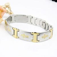 Gold cross non-mainstream titanium men's bracelet boys jewelry male fashion accessories