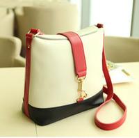 2013 preppy style vintage color block classic bucket bag messenger bag messenger bag female