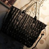 2013 spring female fashion quilting dimond plaid handbag chain bag vintage one shoulder big bag black