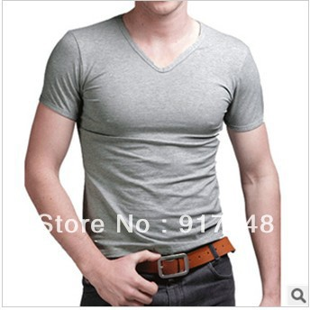 201 hot sale sumer men lycra solid color slim casual t shirts men top t shirsts(China (Mainland))