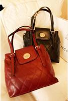 2013 vintage bag dimond plaid Wine red bucket bag shoulder bag messenger bag handbag women's