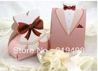 FREE SHIPPING  european creative candy box pink suit and the bride and groom bonbonniere  Wedding banquet box 100 pcs/lot