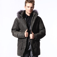 men's clothing,detachable cap medium-long male down coat ,XL-XXL-3XL-4XL-5XL,Free shipping