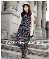 Free shipping 2013 Spring ladies wave point retro zipper vest conjoined pants jumpsuits long pants dropship