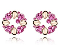 2014 New Colorfull Elegant Lovely Charming Rose Red Crystal Stud Earrings For Woman Gift Free Shipping(MinMix $10)