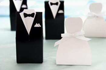 100pcs Wedding DRESS & TUXEDO The Bride and Groom Ribbon Wedding Candy Box