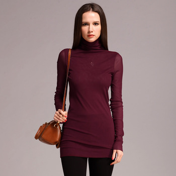 Free shipping 2013 spring long-sleeve turtleneck close-fitting basic shirt mesh all-match top photoret beauty