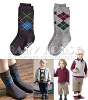 Fashion plaid child slip-resistant knee-high male child socks 1 - 2 years old